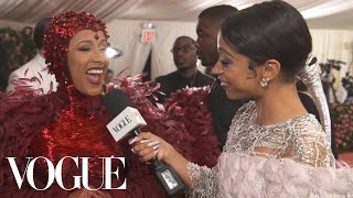 Cardi B on Her Ruby Nipples and Feminism-Inspired Dress | Met Gala 2019 With Liza Koshy | Vogue