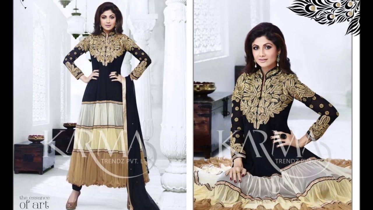 Designer indian bollywood shilpa shetty georgette anarkali suits