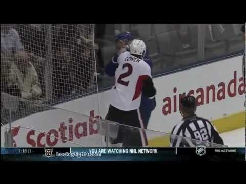 Jared Cowen vs Dion Phaneuf Sep 19, 2011