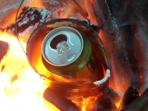 Melting and pouring soda cans youtube for Coke can heater