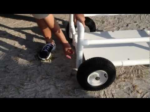 Cartmakers at the beach youtube for Homemade fishing cart