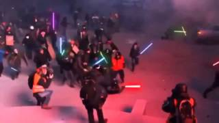 Protest Ukraine   Lightsaber attack from protesters!