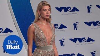 Hailey Baldwin stuns and sparkles at the 2017 VMAs red carpet - Daily Mail