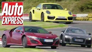 Honda NSX vs Porsche 911 Turbo vs Audi R8 V10 supercar track battle