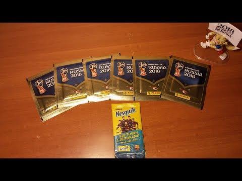 Распаковка 6-и пачек WORLD CUP 2018 Panini + 1 пак с игроками Барселоны Nestle { } PACK OPENING