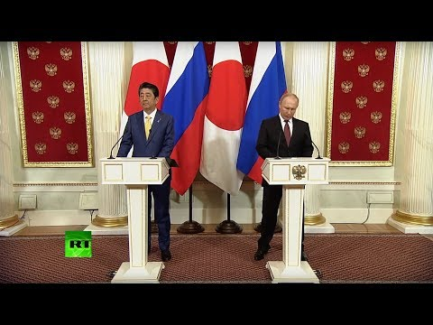 Владимир Путин и премьер-министр Японии Синдзо Абэ подводят итоги переговоров