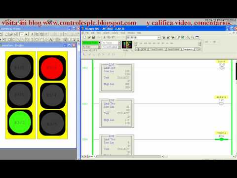 semaforo, plc, electronica, automatizacion, rsview, rslogix 500, slc 500.avi