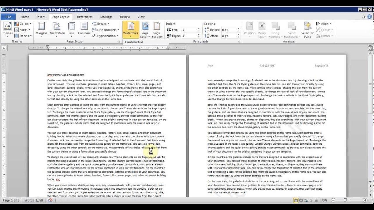 microsoft word pt 6 page setup orientation