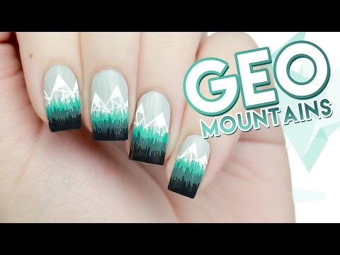 Abstract Geometric Mountains Winter Nail Art - YouTube