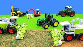 Tractor & Harvester Kids Toys | Bruder Farm Vehicles, Excavator & Trucks Unboxing | Playset at Work