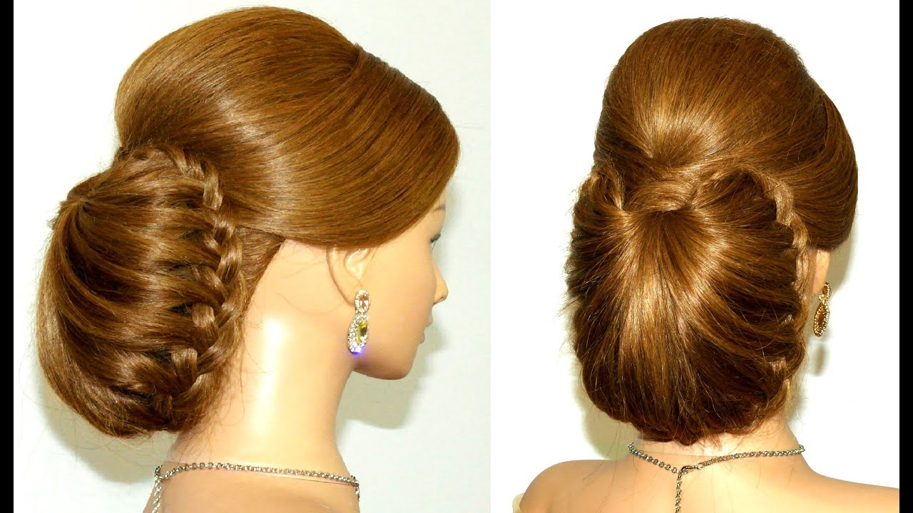 Braided updo hairstyle for long hair. - YouTube