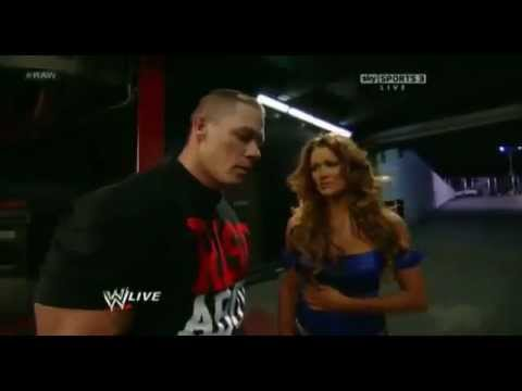 John Cena Kisses Eve Torres - WWE Raw 2 13 12 with Zack Ryde