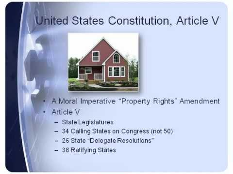 PROPERTY RIGHTS AMENDMENT - SINGLE ISSUE CONVENTION -  Article V, State Legislatures