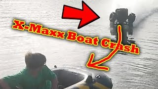 FAIL Traxxas X-Maxx Crosses a Lake RC Car Water Skipping Hydroplane