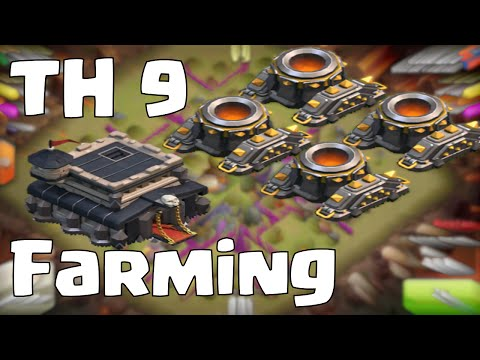 Clash of Clans Townhall 9 Farming Base (After Halloween Update 2014)   4 Mortars