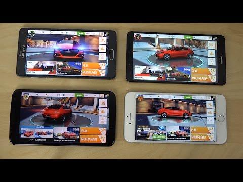 Huawei Ascend Mate 7 vs. Nexus 6 vs. Samsung Galaxy Note 4 vs. iPhone 6 Plus Asphalt 8 Gameplay