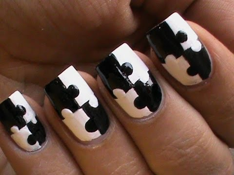 Puzzle nails art designs matte nail polish designs black and white