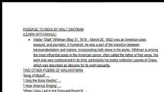 Passage To India By Walt Whitman Complete Notes And Summary And Text