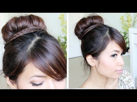 Sock Bun Wrapped Braid Updo Hair Tutorial