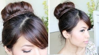 Sock Bun Braid Updo Hairstyle for Medium Long Hair Tutorial