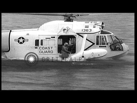 A new Sikorsky HH-52A helicopter demonstrating rescue operations. HD Stock Footage