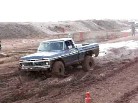 Idaho 08 ttc. Ford on 39s jumps over half of the mud pit.
