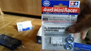 TAMIYA Mini 4WD | 17mm Aluminium Rollers with Plastic Rings Unboxing (Item 15449)