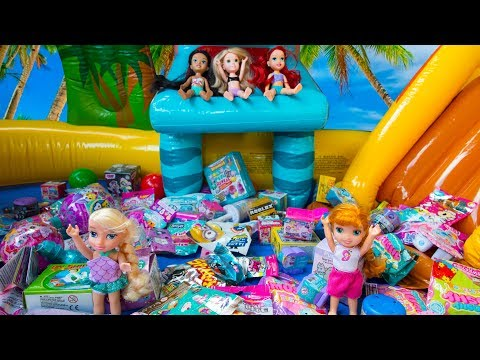 Elsa and Anna toddlers pool of surprises with Barbie