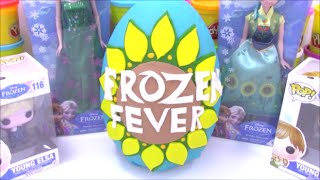 Huge Frozen Fever Giant Play Doh Surprise Egg with New Elsa and Anna Dolls
