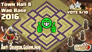 Download Th8 War Base 2016.Town hall 8 Best ANTI 3 Star.Clash Of Clans (Coc) 3Gp Mp4