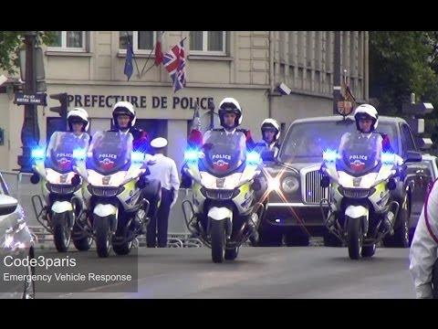 Police Motorcade Queen of England in Paris