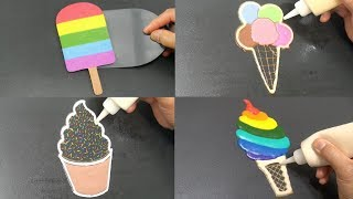 Rainbow Ice Cream Pancake Art - Popsicle, Sprinkles, Scoops, Soft Serve