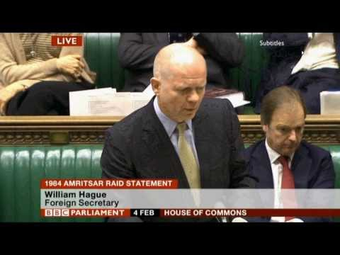 William Hague 1984 Amritsar Raid Statement + questions 4 Feb 2014