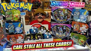 CARL STEALS EARLY NEW POKEMON CARDS FROM THE POKEMON COMPANY! NEW SWORD & SHIELD STARTER TIN OPENING