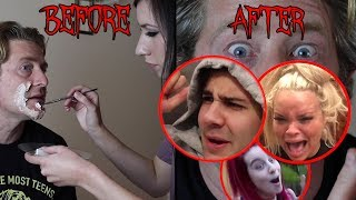 SCARING FRIENDS WITH HALLOWEEN MAKEOVER!! (gone wrong)
