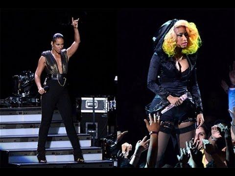Nicki Minaj Alicia Keys Perform Girl on Fire with Gab Douglas 2012 MTV VMA