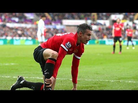 Manchester United striker Robin van Persie on crutches