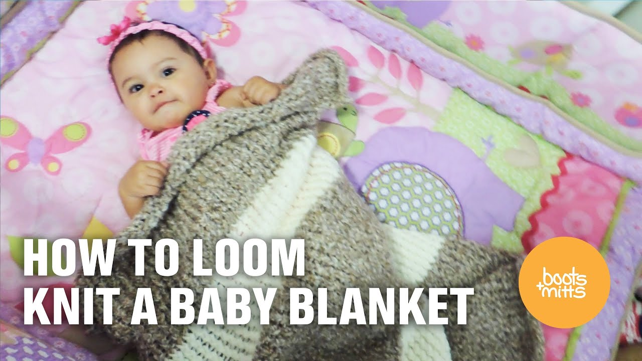 Loom Knitting Pattern For Baby Blanket : How to Loom Knit a Baby Blanket - YouTube