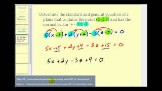 Determining the Equation of a Plane Using a Normal Vector