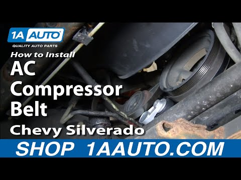 How To Install Replace AC Compressor Belt Chevy Silverado GMC Sierra 4.8L 5.3L 6