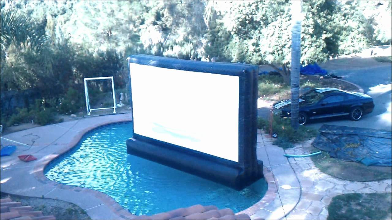 16ft Inflatable Movie Screen Floating In Swimming Pool
