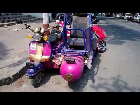 Unusual amazing and one of its kind modified Bajaj scooter in Mahim Mumbai India 2014 [HD VIDEO]
