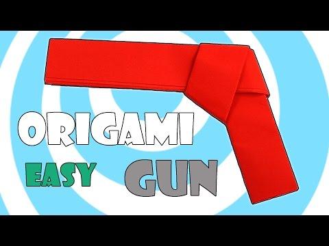 How To Make Easy Paper Origami Gun (Pistol) Tutorial
