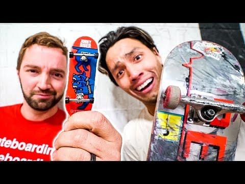 REVIVE FINGERBOARD VS REVIVE SKATEBOARD!!  *Andy Schrock VS John Hill*