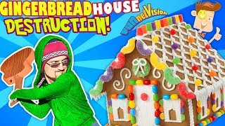 GINGERBREAD HOUSE DESTRUCTION!  Tree Smash!  (FUNnel Vision Vlog)
