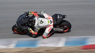 Laguna Seca on R1 with Keanu Reeves, Wyatt on CBR  600 vs Berto