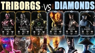 TRIBORGS vs DIAMOND CHARACTERS in MKX Mobile. Who is stronger?