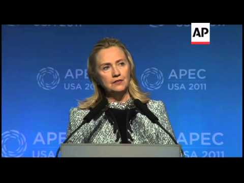 Clinton's news conference at APEC summit, Myanmar sot