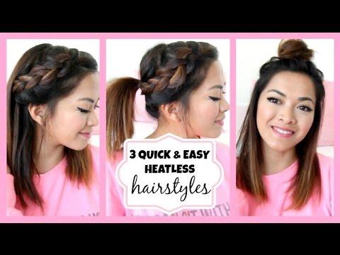 Running Late!! 3 Quick & Easy Hairstyles for Medium Length Hair! ♡ ThatsHeart