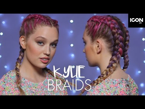 Kylie Jenner Inspired Festival Rainbow Braids Hairstyle Tutorial